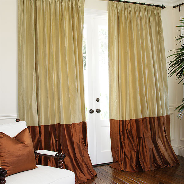 Sand Taffeta with Sienna Dupioni Border, Parisian Pleat.