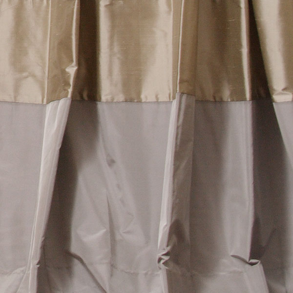 Pebble Dupioni with Chrome Taffeta Border